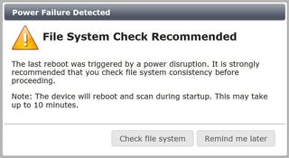 Fortigate file system check recommended